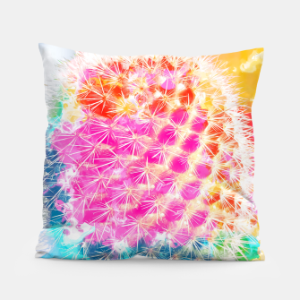 Thumbnail image of closeup cactus with colorful painting abstract in pink orange blue Pillow, Live Heroes