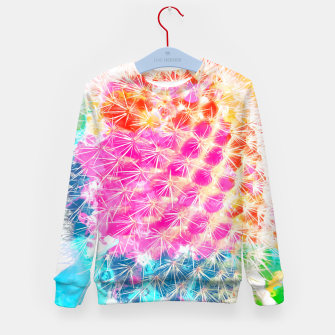 Thumbnail image of closeup cactus with colorful painting abstract in pink orange blue Kid's Sweater, Live Heroes