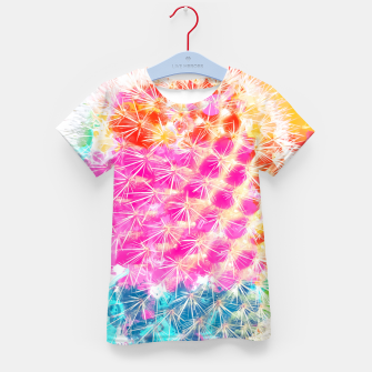 Thumbnail image of closeup cactus with colorful painting abstract in pink orange blue Kid's T-shirt, Live Heroes