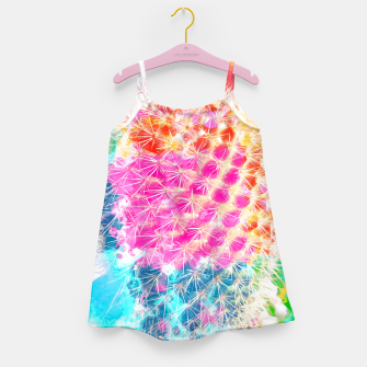 Thumbnail image of closeup cactus with colorful painting abstract in pink orange blue Girl's Dress, Live Heroes