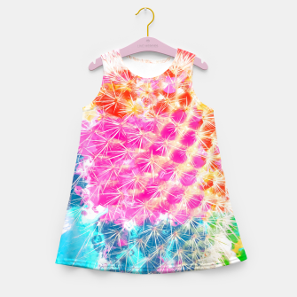 Thumbnail image of closeup cactus with colorful painting abstract in pink orange blue Girl's Summer Dress, Live Heroes