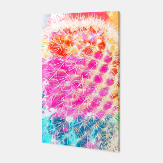 Thumbnail image of closeup cactus with colorful painting abstract in pink orange blue Canvas, Live Heroes