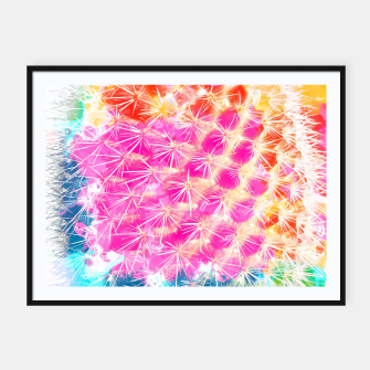 Thumbnail image of closeup cactus with colorful painting abstract in pink orange blue Framed poster, Live Heroes