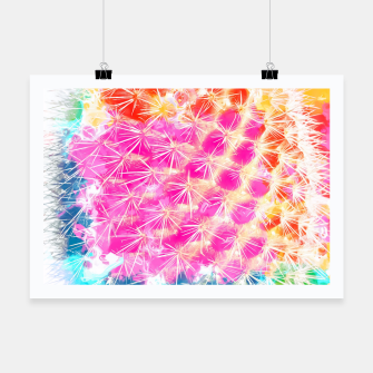 Thumbnail image of closeup cactus with colorful painting abstract in pink orange blue Poster, Live Heroes