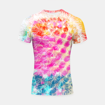 Thumbnail image of closeup cactus with colorful painting abstract in pink orange blue Shortsleeve Rashguard, Live Heroes