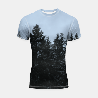 Thumbnail image of Pine trees and snow Shortsleeve Rashguard, Live Heroes