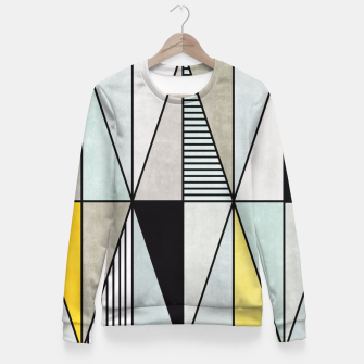 Thumbnail image of Colorful Concrete Triangles - Yellow, Blue, Grey Fitted Waist Sweater, Live Heroes