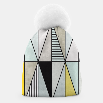 Thumbnail image of Colorful Concrete Triangles - Yellow, Blue, Grey Beanie, Live Heroes