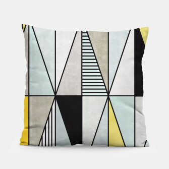Thumbnail image of Colorful Concrete Triangles - Yellow, Blue, Grey Pillow, Live Heroes