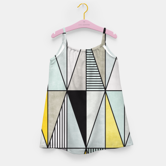 Thumbnail image of Colorful Concrete Triangles - Yellow, Blue, Grey Girl's Dress, Live Heroes