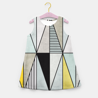 Thumbnail image of Colorful Concrete Triangles - Yellow, Blue, Grey Girl's Summer Dress, Live Heroes