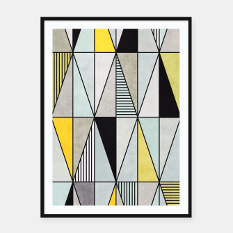 Thumbnail image of Colorful Concrete Triangles - Yellow, Blue, Grey Framed poster, Live Heroes