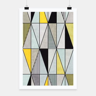 Thumbnail image of Colorful Concrete Triangles - Yellow, Blue, Grey Poster, Live Heroes