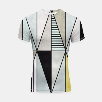Thumbnail image of Colorful Concrete Triangles - Yellow, Blue, Grey Shortsleeve Rashguard, Live Heroes