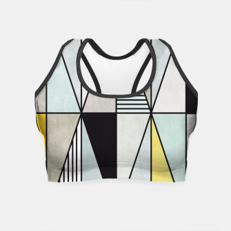 Thumbnail image of Colorful Concrete Triangles - Yellow, Blue, Grey Crop Top, Live Heroes