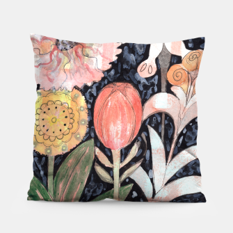 Miniatur Mixed Flowers with Tulip on Black  Pillow, Live Heroes