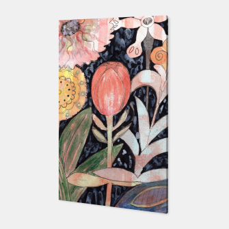 Miniatur Mixed Flowers with Tulip on Black  Canvas, Live Heroes