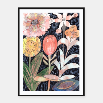 Miniatur Mixed Flowers with Tulip on Black  Framed poster, Live Heroes