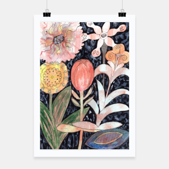 Miniatur Mixed Flowers with Tulip on Black  Poster, Live Heroes