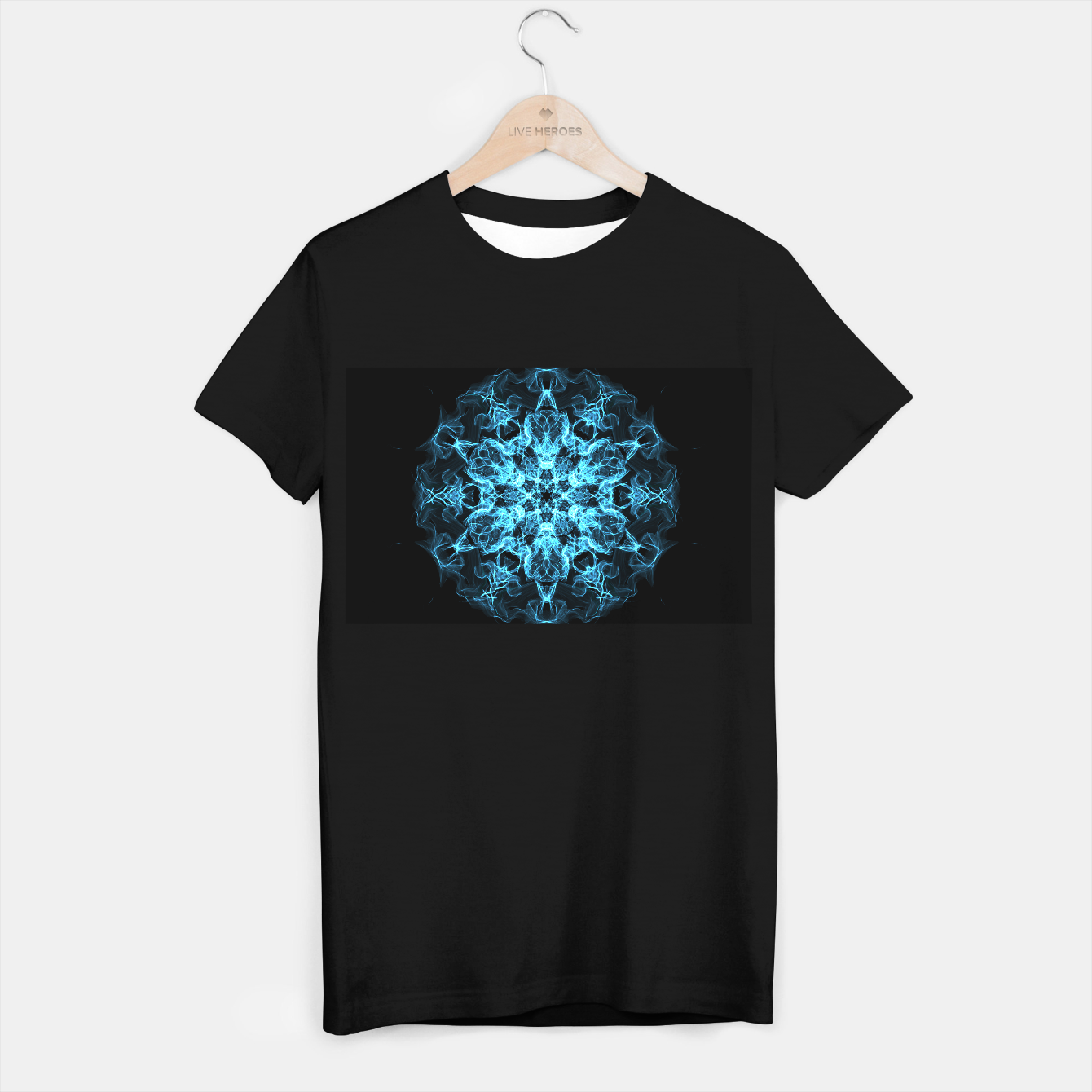 Image of Electric cosmic storm as a snowflake star mandala with aliens T-shirt regular - Live Heroes
