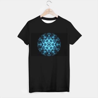 Thumbnail image of Electric cosmic storm as a snowflake star mandala with aliens T-shirt regular, Live Heroes