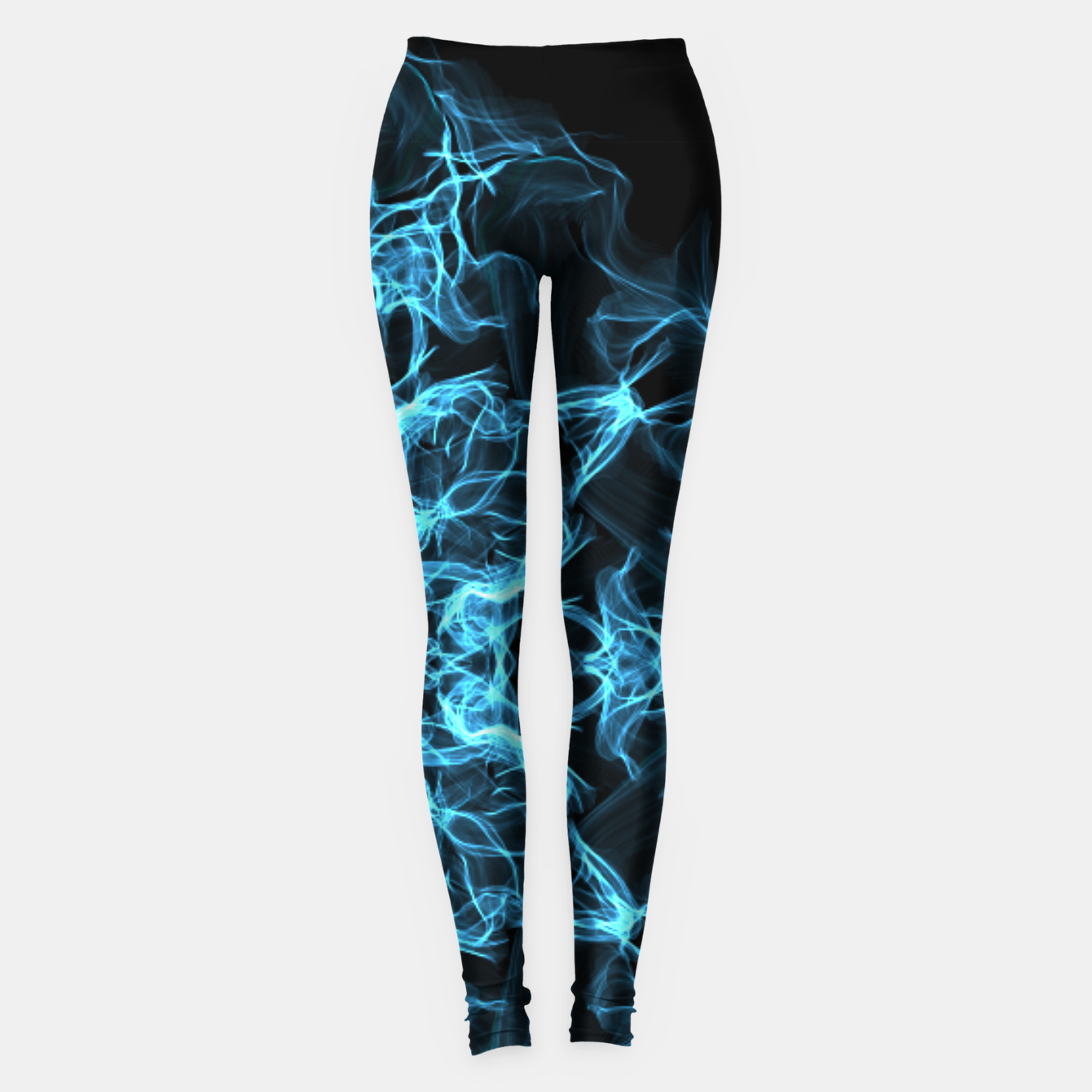Image of Electric cosmic storm as a snowflake star mandala with aliens Leggings - Live Heroes