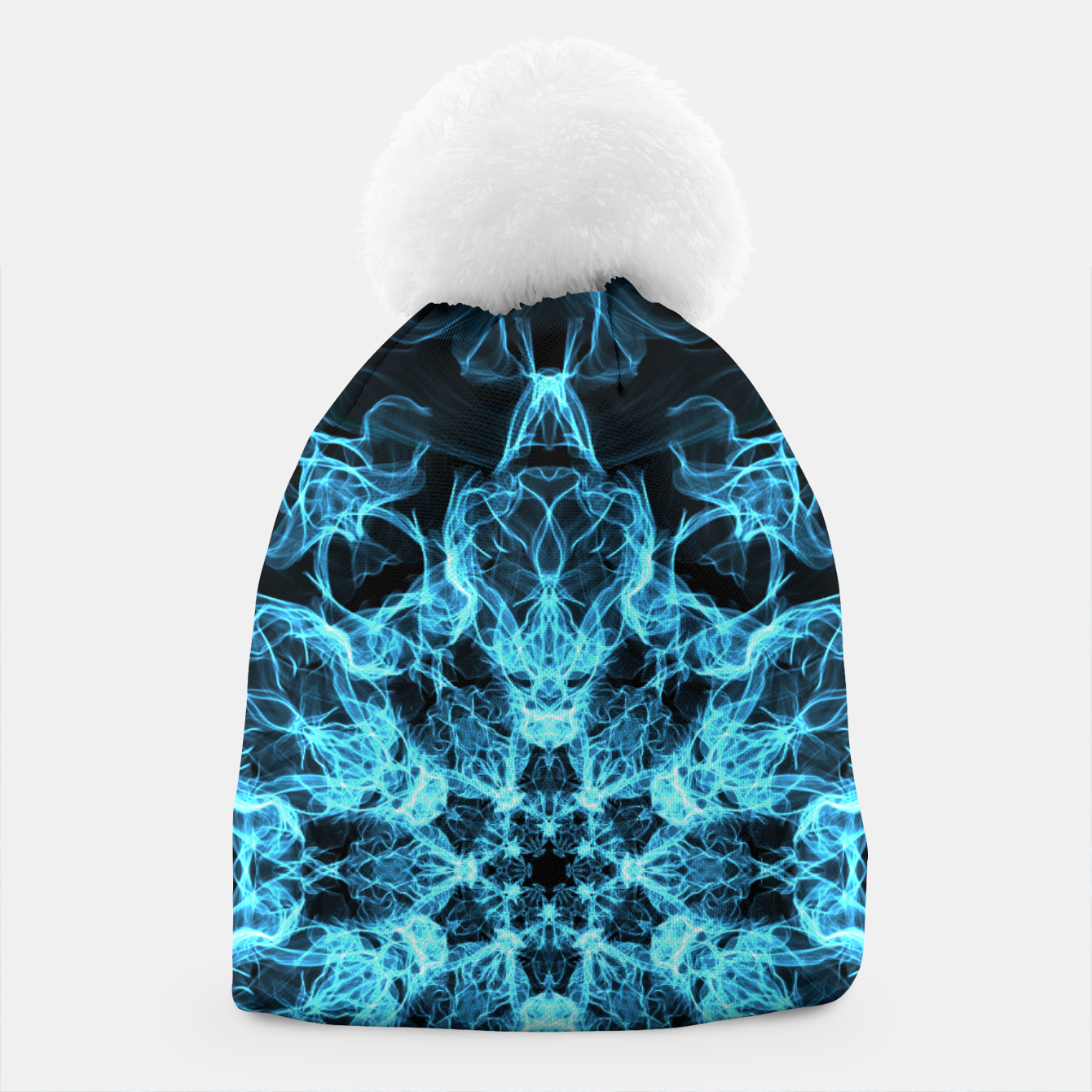 f2a63d96350 Image of Electric cosmic storm as a snowflake star mandala with aliens  Beanie - Live Heroes