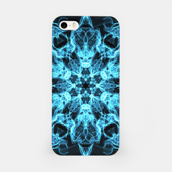 Thumbnail image of Electric cosmic storm as a snowflake star mandala with aliens iPhone Case, Live Heroes