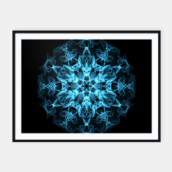 Thumbnail image of Electric cosmic storm as a snowflake star mandala with aliens Framed poster, Live Heroes