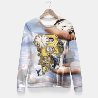 Thumbnail image of Steampunk Birthday letter B Fitted Waist Sweater, Live Heroes