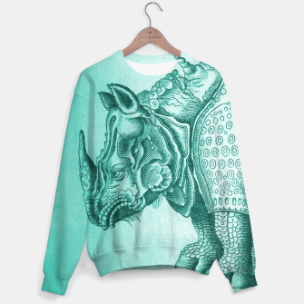 Thumbnail image of Teal Rhino Engraving Sweater, Live Heroes