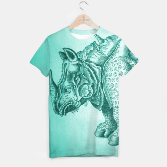 Thumbnail image of Teal Rhino Engraving T-shirt, Live Heroes
