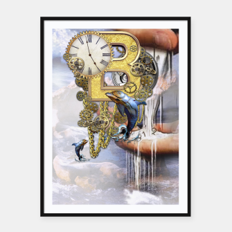 Thumbnail image of Steampunk Birthday letter B Framed poster, Live Heroes
