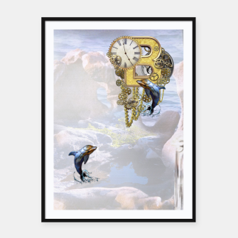 Thumbnail image of Steampunk Birthday letter B T-shirt  Framed poster, Live Heroes