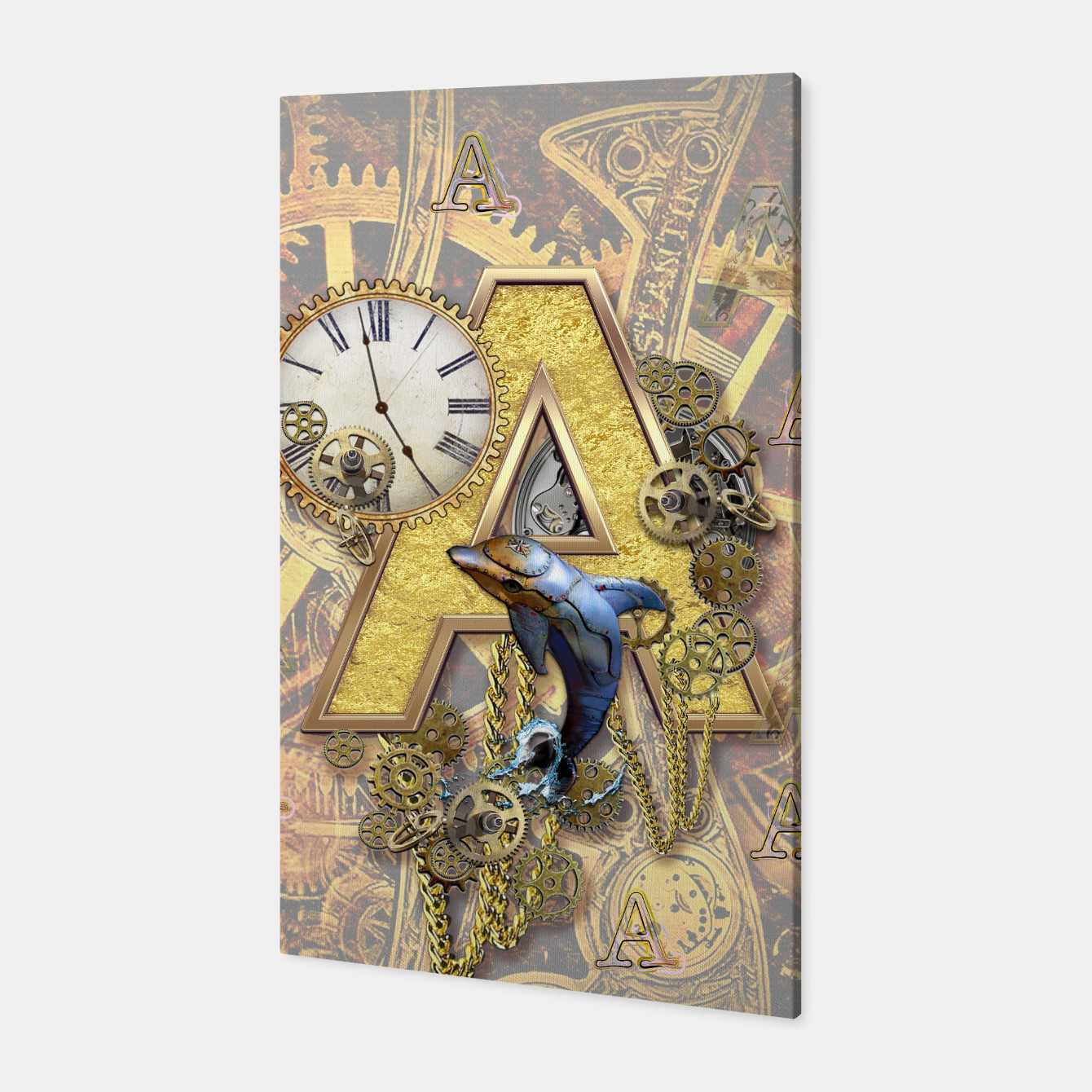 Image of Steampunk-birthday letter A  Canvas - Live Heroes