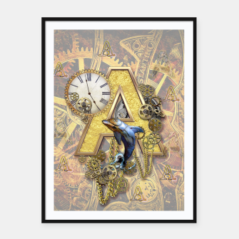 Thumbnail image of Steampunk-birthday letter A  Framed poster, Live Heroes