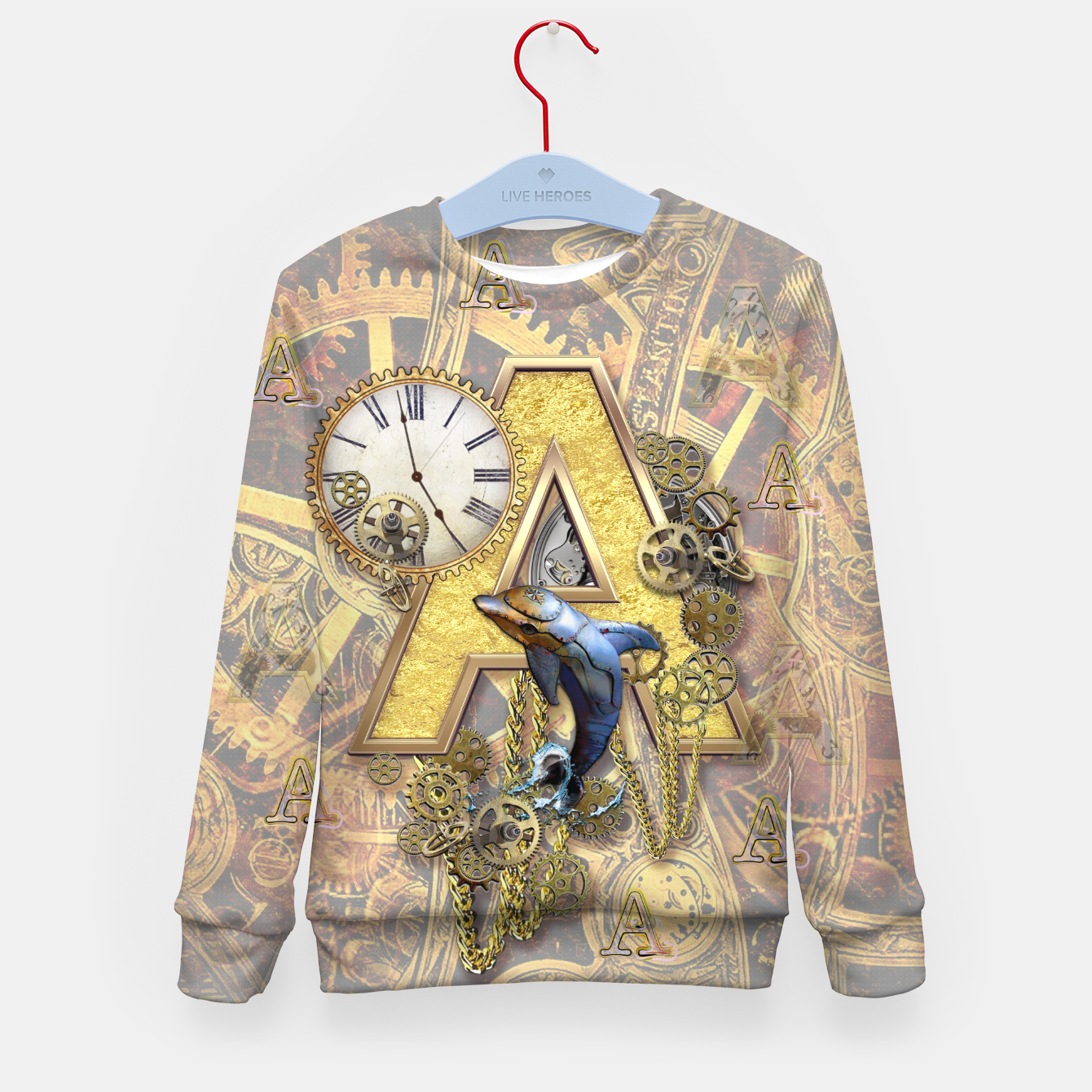 Image of Steampunk-birthday letter A  Kid's Sweater - Live Heroes