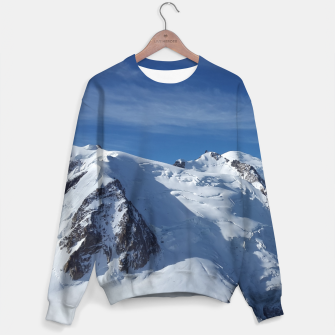 Miniaturka Awesome white snowy Mont Blanc Alps mountains in Italy, France, Europe on a beautiful winter day Sweater, Live Heroes