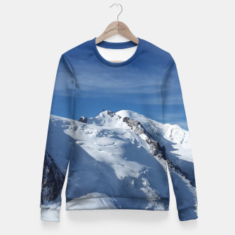 Awesome white snowy Mont Blanc Alps mountains in Italy, France, Europe on a beautiful winter day Fitted Waist Sweater Bild der Miniatur
