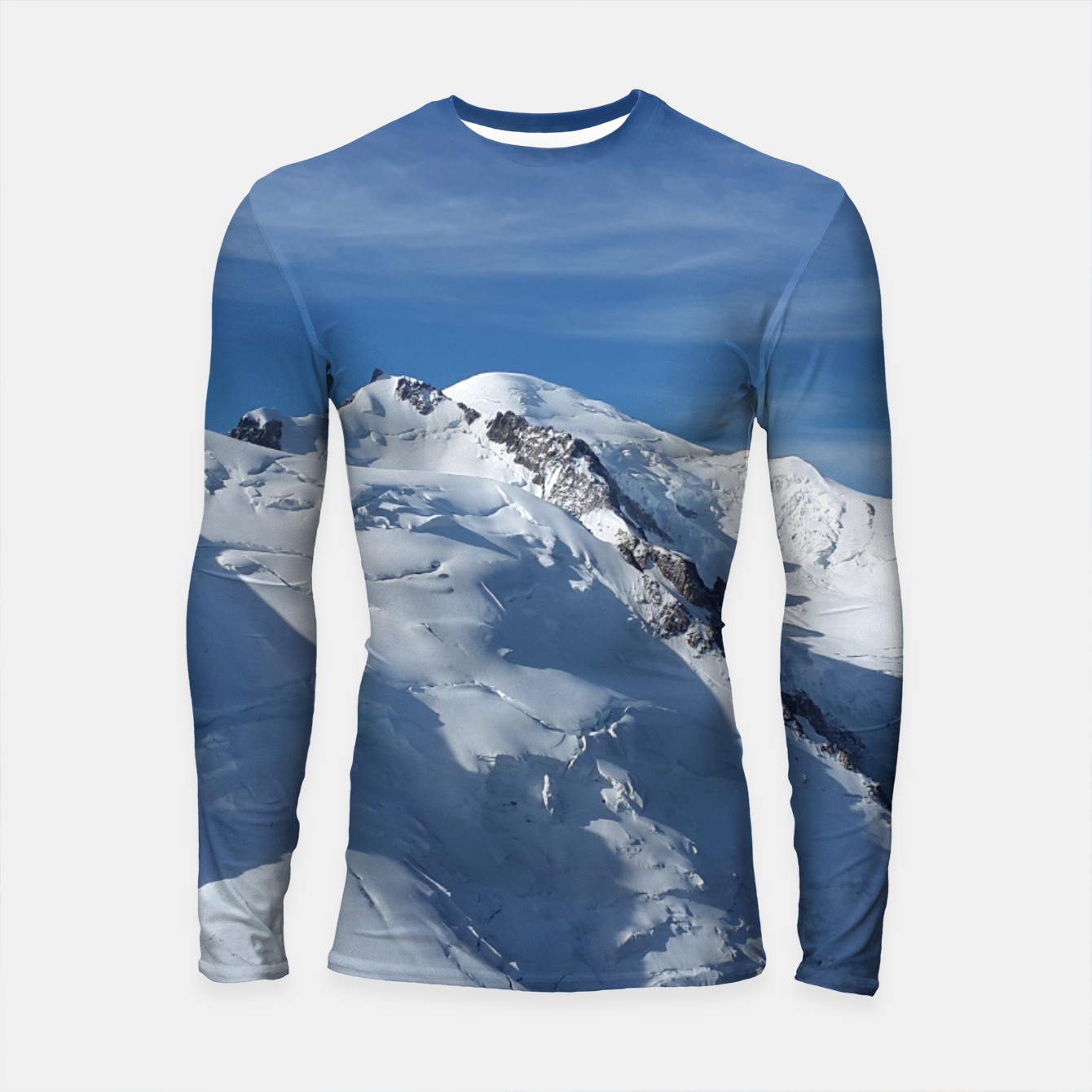 Foto Awesome white snowy Mont Blanc Alps mountains in Italy, France, Europe on a beautiful winter day Longsleeve Rashguard  - Live Heroes