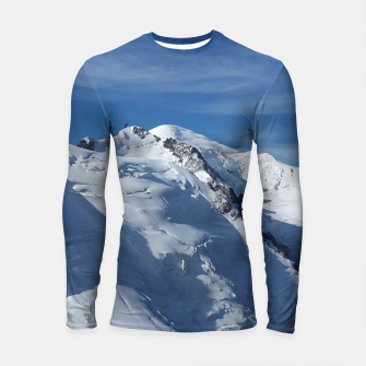 Miniaturka Awesome white snowy Mont Blanc Alps mountains in Italy, France, Europe on a beautiful winter day Longsleeve Rashguard , Live Heroes