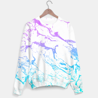 Thumbnail image of White marble Purple blue ombre watercolor mermaid Sweater, Live Heroes