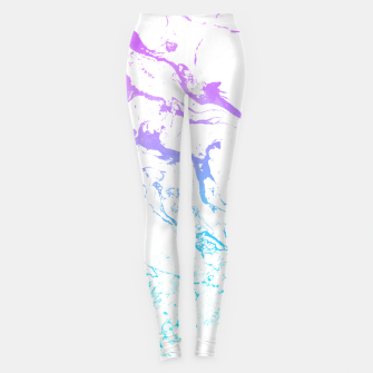 Thumbnail image of White marble Purple blue ombre watercolor mermaid Leggings, Live Heroes