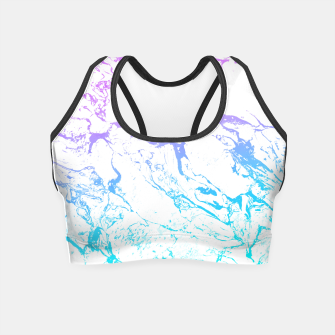 Thumbnail image of White marble Purple blue ombre watercolor mermaid Crop Top, Live Heroes