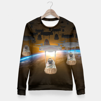 Miniatur Pugvation Alien Invasion Fitted Waist Sweater, Live Heroes