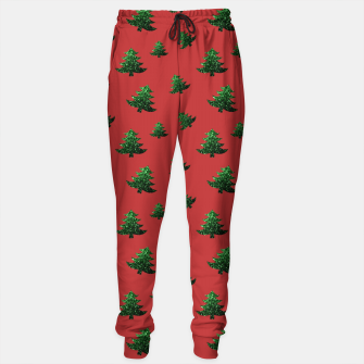 Thumbnail image of Sparkly Christmas tree green sparkles pattern on red Sweatpants, Live Heroes