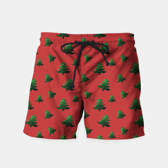 Thumbnail image of Sparkly Christmas tree green sparkles pattern on red Swim Shorts, Live Heroes