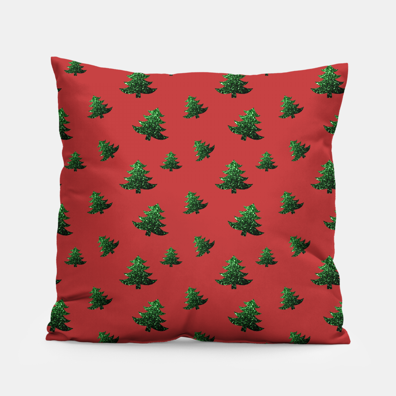 Image of Sparkly Christmas tree green sparkles pattern on red Pillow - Live Heroes