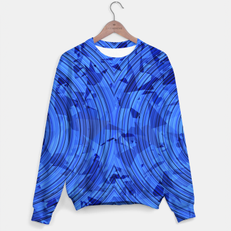 Thumbnail image of psychedelic geometric circle pattern abstract background in blue Sweater, Live Heroes