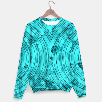 Thumbnail image of psychedelic geometric circle pattern abstract background in blue and green Sweater, Live Heroes